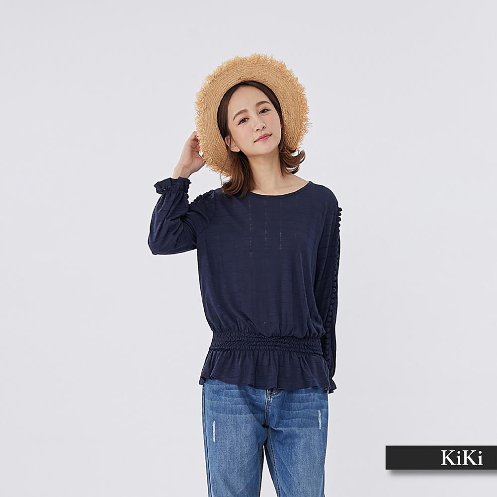 【KiKi】早春款顯瘦七分袖-上衣(二色)