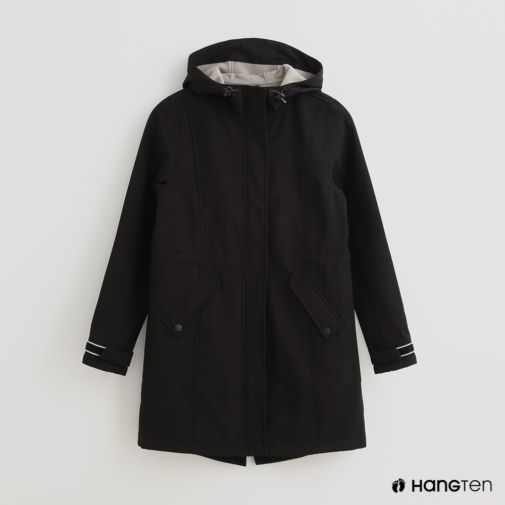 Hang Ten -女裝-ThermoContro-雙口袋長版連帽外套-黑