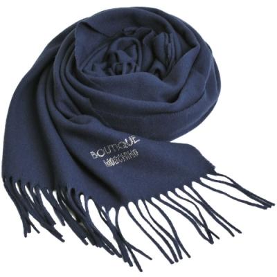BOUTIQUE MOSCHINO義大利製羊毛水鑽字母LOGO寬版羊毛披肩/圍巾(深藍)