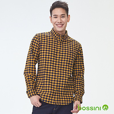 bossini男裝-長袖法蘭絨格紋襯衫03金黃