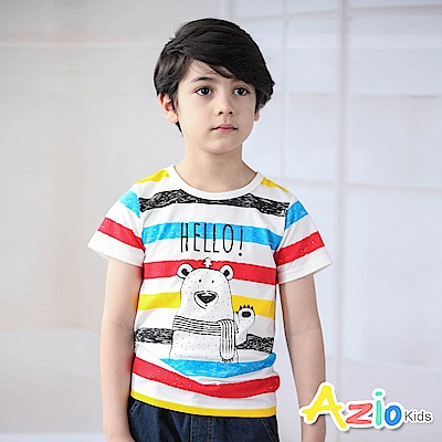 Azio Kids 上衣 彩色橫條紋熊熊印花短袖T恤(彩條)