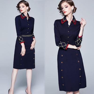 【KEITH-WILL】時尚潮流OL時髦復古刺繡娃娃領洋裝-<b>2</b>色