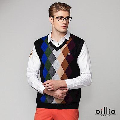 歐洲貴族 oillio V領背心 多色設計款 菱格紋設計 深灰色