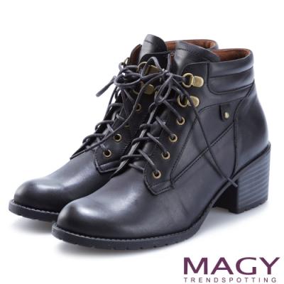 MAGY 紐約時尚步調 復古造型綁帶真皮粗跟短靴-黑色