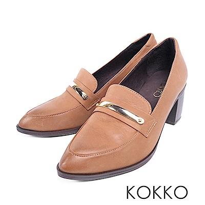 KOKKO  - 落葉情話牛皮樂福粗跟鞋-焦糖拿鐵