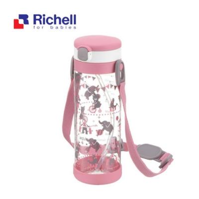 【Richell 利其爾】第一代LC 450ml 吸管式冷水壺 - 粉紅派對 【附背帶】