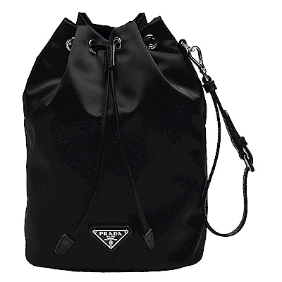 PRADA VELA系列經典銀色三角LOGO尼龍萬用掛腕式束口袋/化妝包(黑)