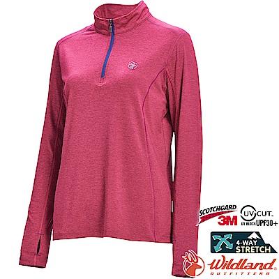 Wildland 荒野 0A71653-09桃紅色 女彈性抗UV拉鍊長袖上衣