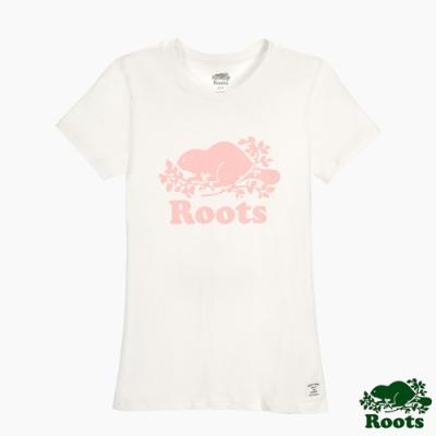 女裝Roots- 有機棉經典logo窄版短袖T恤-白色