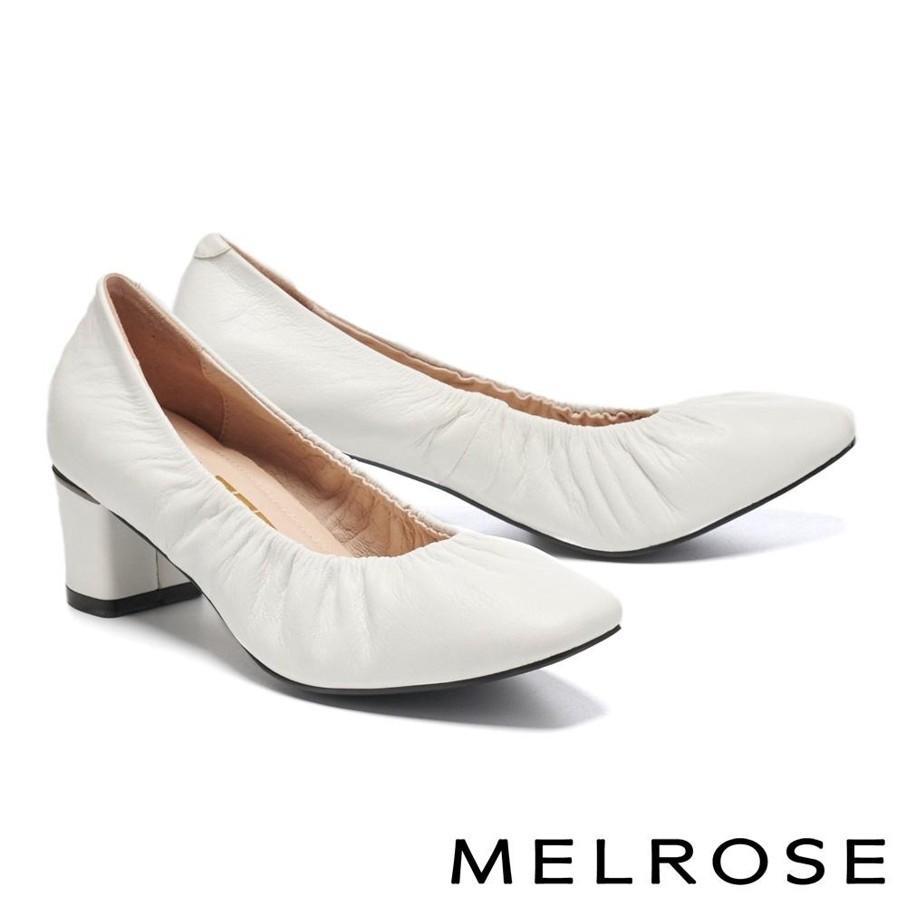高跟鞋 MELROSE 極簡氣質純色抓皺全真皮方頭高跟鞋-白