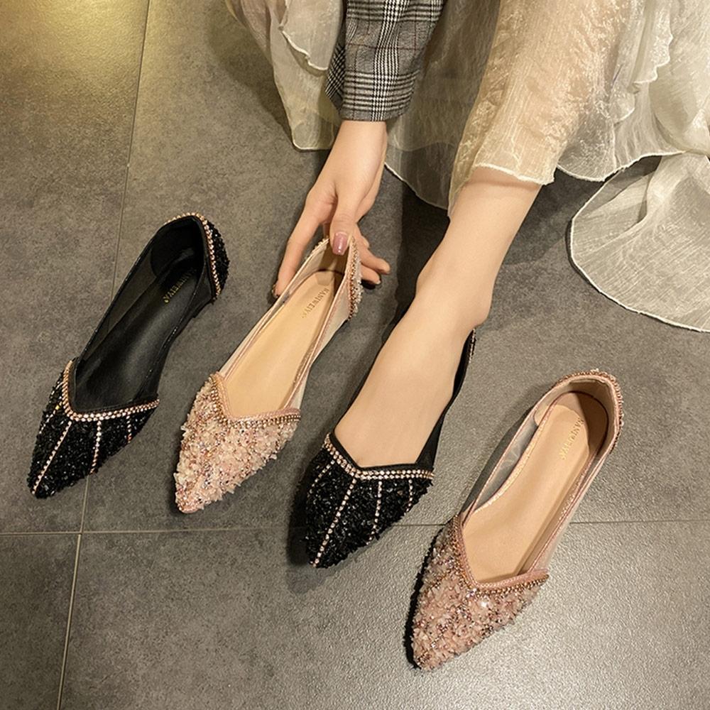 KEITH-WILL時尚鞋館韓新品網紗透氣尖頭平底鞋