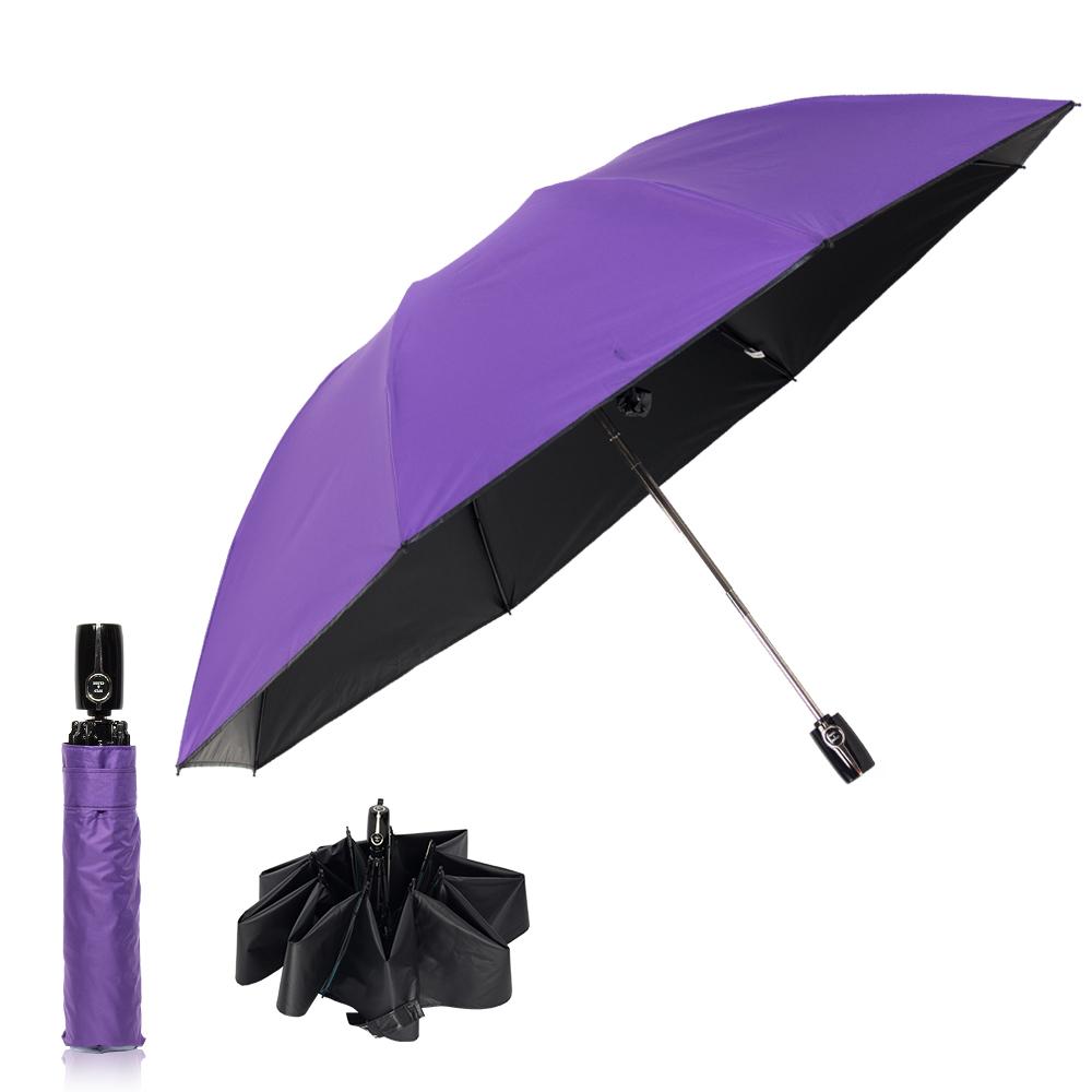 雙龍TDN 反向自動開收黑膠抗UV傘 -神秘紫