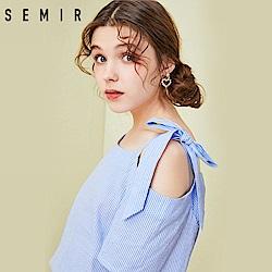 SEMIR森馬-春夏直紋單肩綁帶造型上衣-女