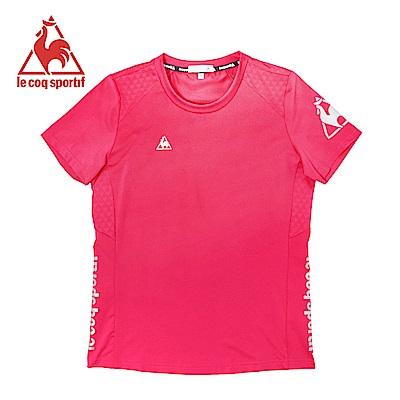 le coq sportif 法國公雞牌基礎透氣吸濕排汗短袖T恤 女-桃紅