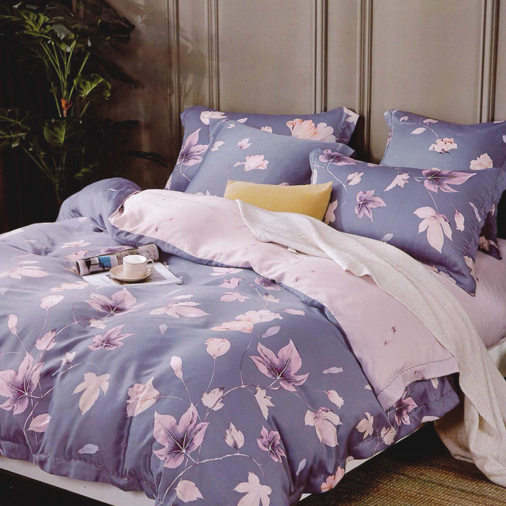 Lily Royal 百分百純天絲涼被床包四件組 加大 瑟琳娜紫