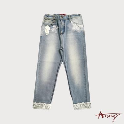 Annys安妮公主-珍珠蕾絲網紗蝴蝶結春夏款刷色牛仔長褲*5380藍色