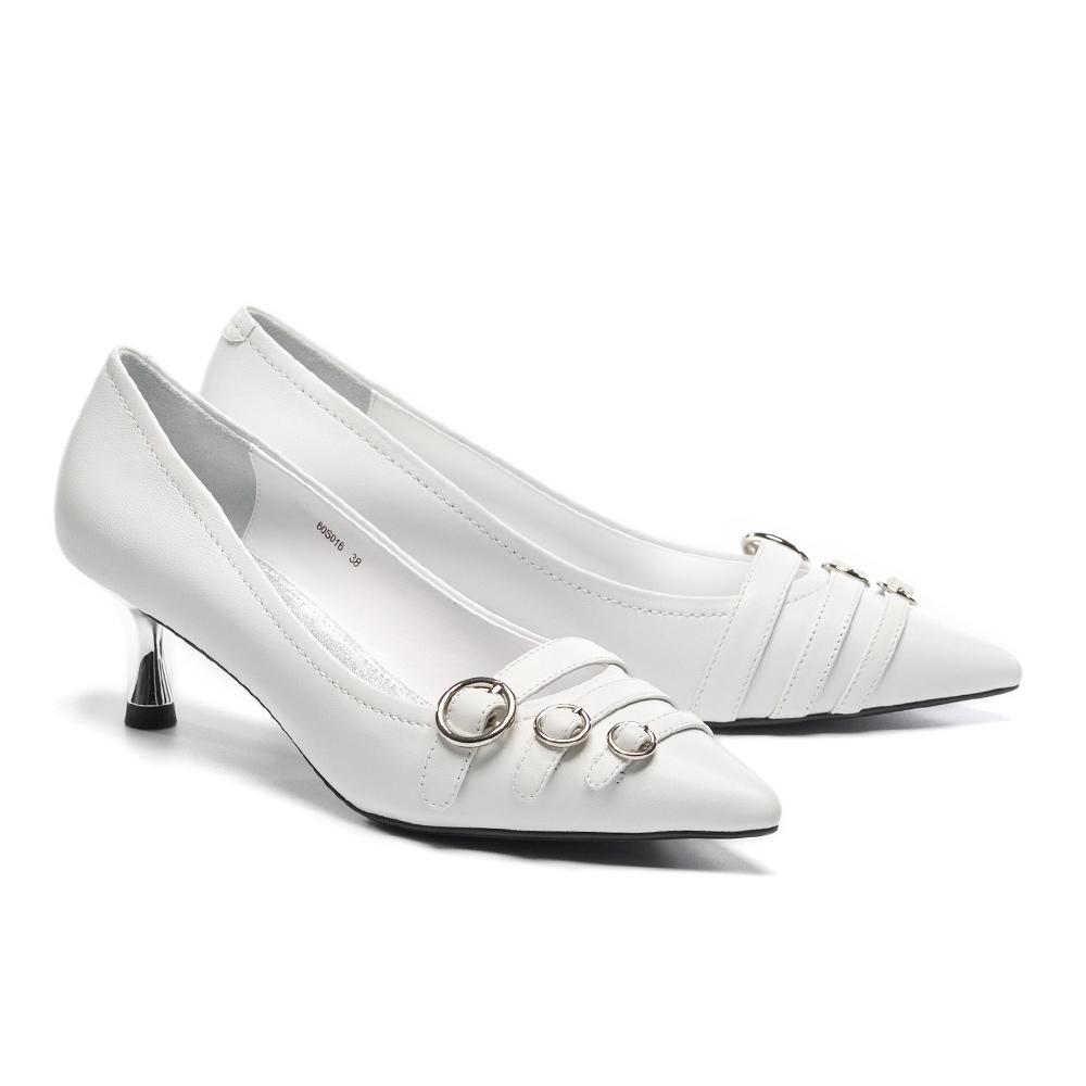 高跟鞋 HELENE SPARK 個性時尚圓針釦多繫帶羊皮尖頭高跟鞋-白