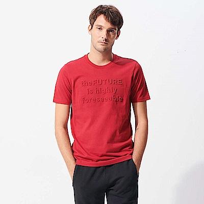 GIORDANO  男裝theFUTURE系列立體印花T恤-21 標誌紅