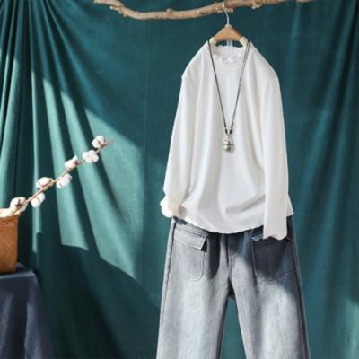 軟糯素色微彈花邊領內搭衫寬鬆長袖毛衣針織衫上衣-設計所在