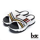 bac加州陽光-交叉異材質壓紋撞色運動風厚底拖鞋-白