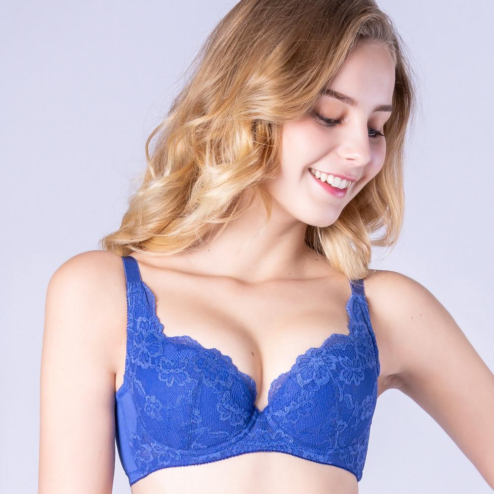 思薇爾 春舞花蝶系列B-F罩蕾絲包覆內衣(深海藍)