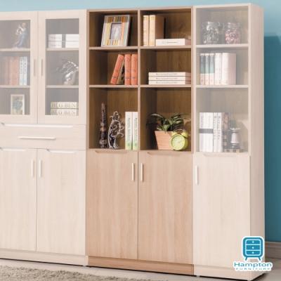 漢妮Hampton貝琳達橡木2.7尺雙下門開放書櫃80.2x32x183.5