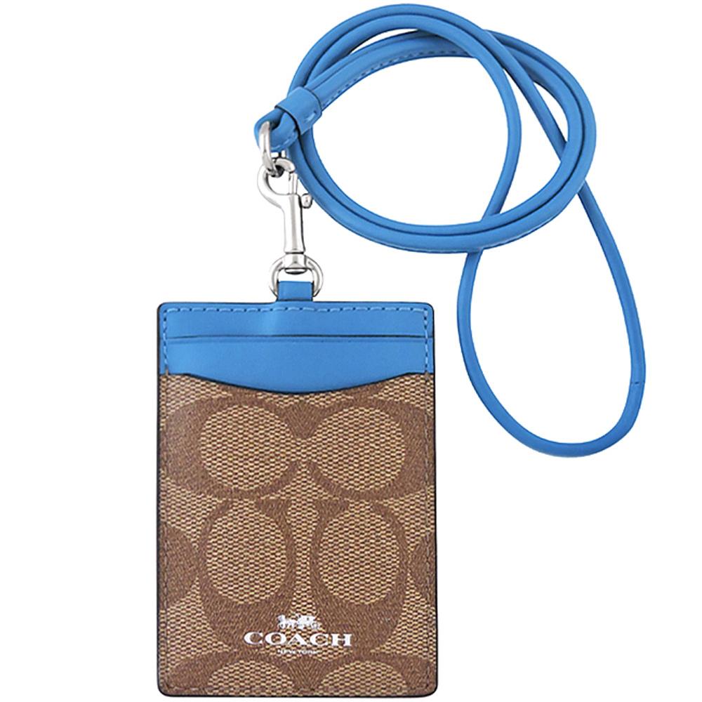 COACH 藍色大C PVC識別證件夾COACH