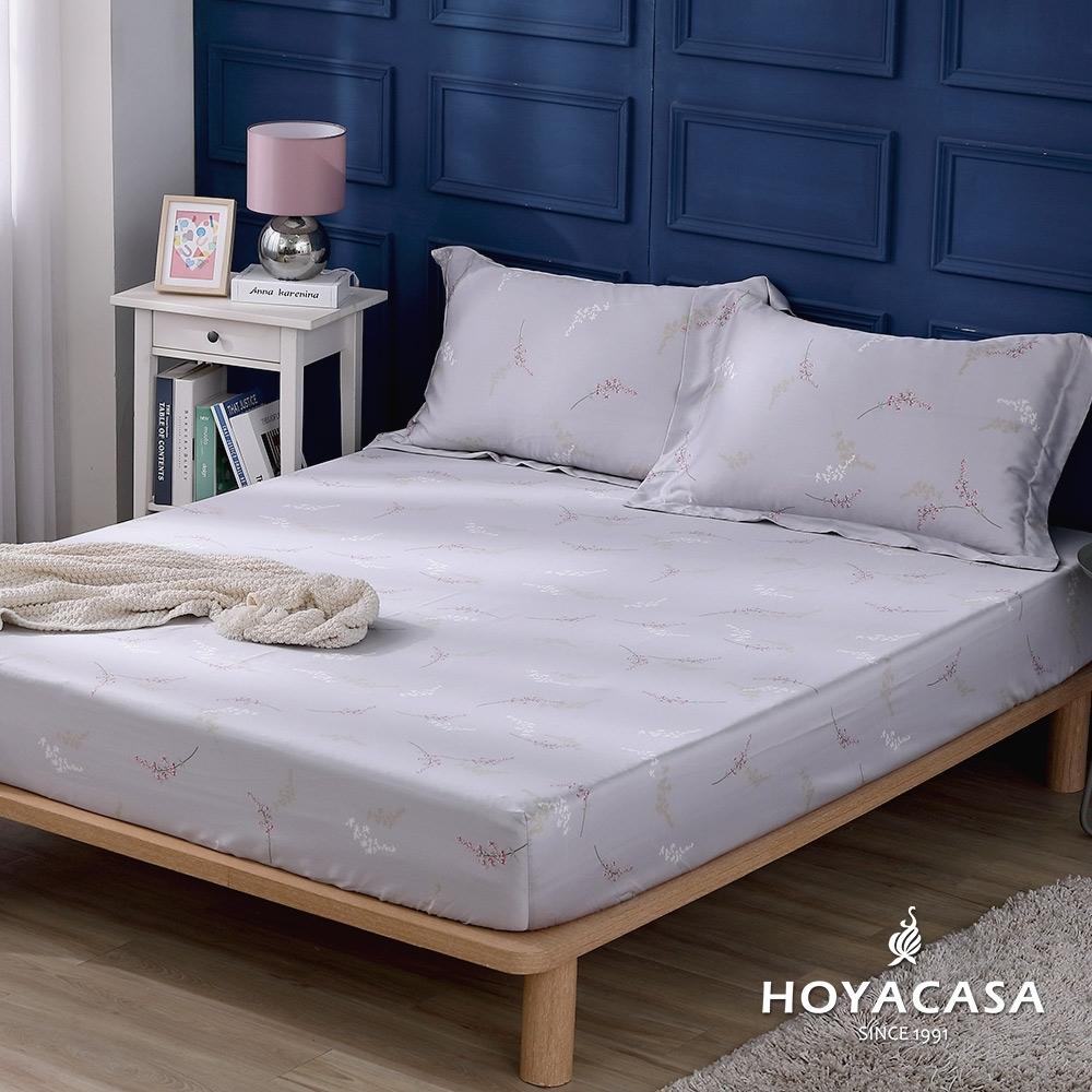 【HOYACASA 】100%天絲枕套床包三件組-花曲(雙人)