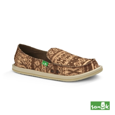 SANUK 女款 US7 絨布民俗圖騰懶人鞋(咖啡色)