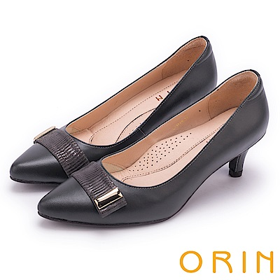 ORIN 典雅時尚女人 造型五金妝點羊皮尖頭中跟鞋-灰色