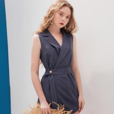 AIR SPACE LADY 時尚無袖西裝領連身褲(藍)