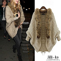 Jilli-ko 毛領披肩毛衣外套-卡