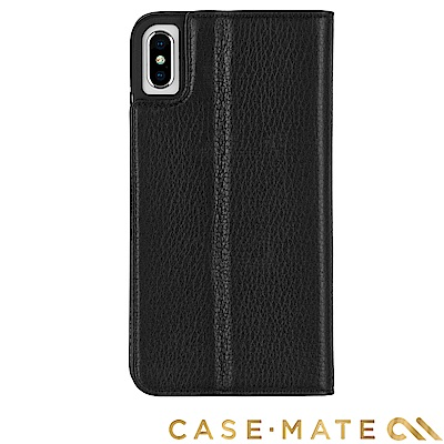 美國Case-Mate iPhone XS/X Wallet Folio 簡約真皮夾殼-黑