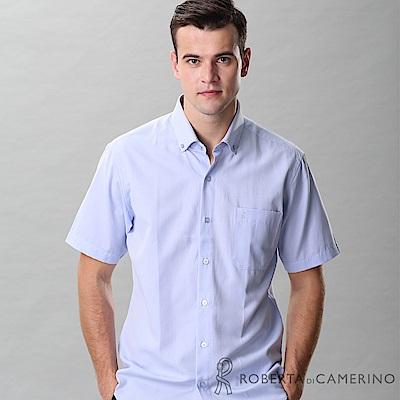 ROBERTA諾貝達 台灣製 合身版 變化領口 魅力短袖襯衫 藍色