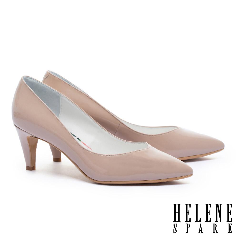 高跟鞋 HELENE SPARK 極簡百搭質感牛軟漆皮尖頭高跟鞋-粉