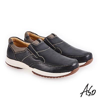 A.S.O 3D超動能 雙色臘感鞋面休閒鞋 黑