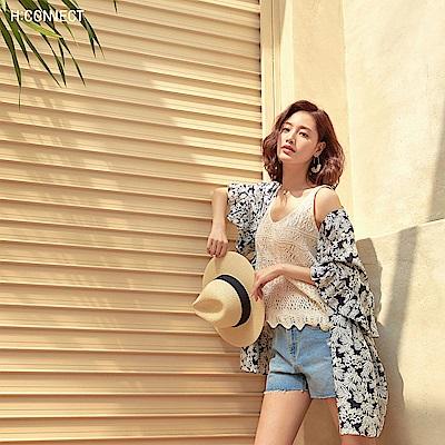 H:CONNECT 韓國品牌 女裝-度假感印花綁結上衣-藍