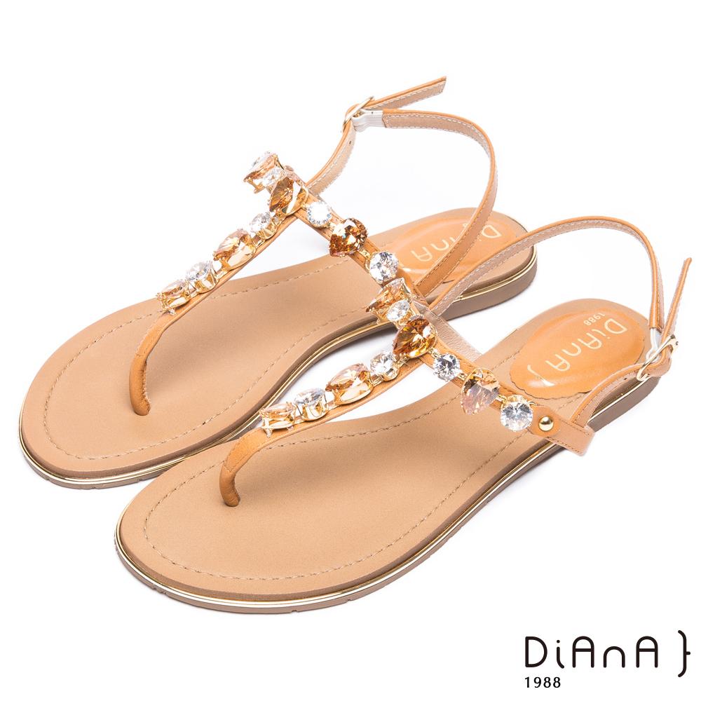 DIANA 氣質奢華-閃耀亮鑽質感真皮人字涼鞋-棕