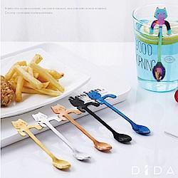 DIDA 杯緣子貓咪手柄可掛式304不鏽鋼攪拌匙-7支/組(每色各一)