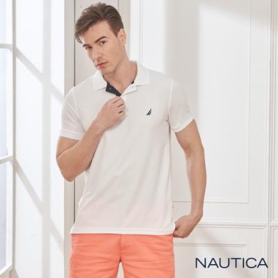 Nautica素色吸濕排汗短袖POLO衫-白色