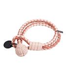 BOTTEGA VENETA  經典編織雙色小羊皮雙繩手環 (橘色配米/S)