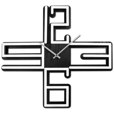 17吋 數字時標 十字 鏤空 居家擺飾 簡約 北歐風 餐廳客廳臥室 靜音 掛鐘 - 白黑色