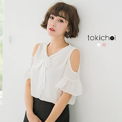 東京著衣 甜俏女孩削肩綁帶上衣-S.M(共二色)