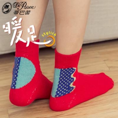 蒂巴蕾 暖足兔羊毛襪- 小精靈 焰緋紅色