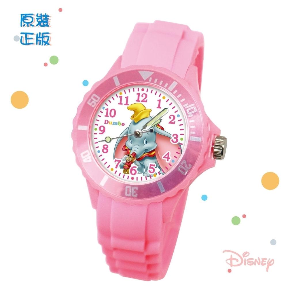 DISNEY迪士尼 Dumbo小飛象中型運動彩帶錶35mm粉紅色