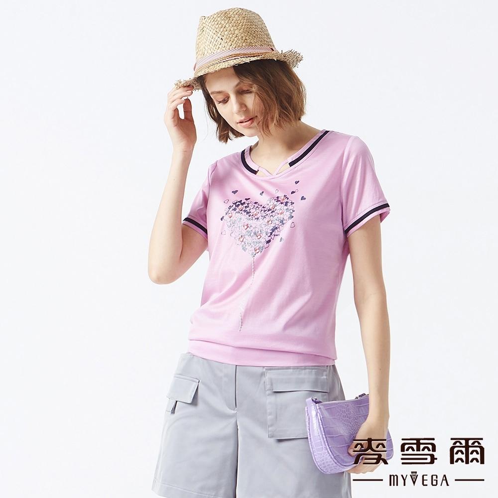 MYVEGA麥雪爾 絲光棉愛心滿鑽造型上衣-淺紫