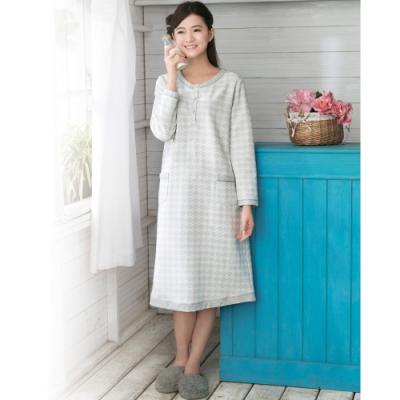 華歌爾睡衣 M-L 長袖裙裝家居服(灰)