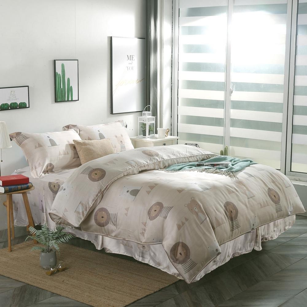 夢工場辛巴之萌40支紗萊賽爾天絲四件式鋪錦床罩組-加大
