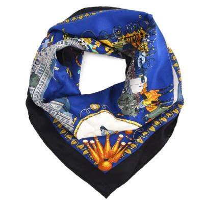 Hermes Promenades De Paris杜樂麗花園廣場方形絲巾-深藍色/黑邊