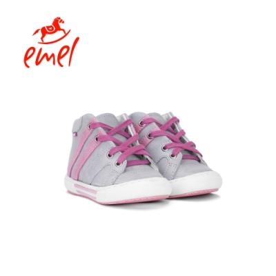 Emel 童鞋 街頭藝術-綁帶中筒鞋 灰粉